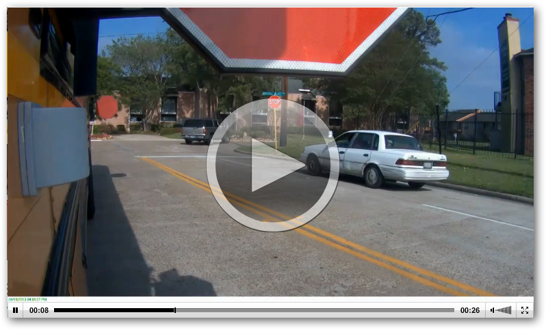 School Bus Stop Arm Video::View from the bus